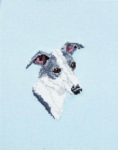 * An Italian Greyhound Cross-Stitch 10 x 8 inches.