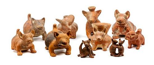 * Ten Colima Mexican Terracotta Stylized Dog Vessels Width of widest 12 1/2 inches.