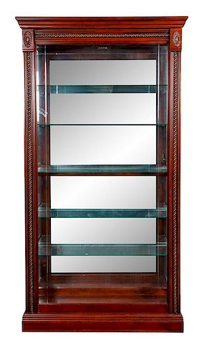 * Two Wood and Glass Display Cases Height 79 1/2 inches.