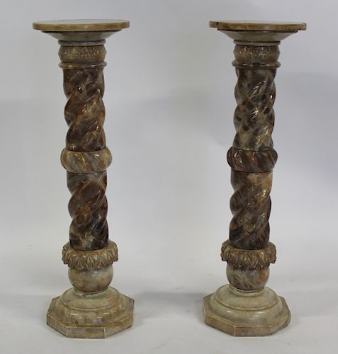 An Antique Pair of Twist Column Two Tone Marble