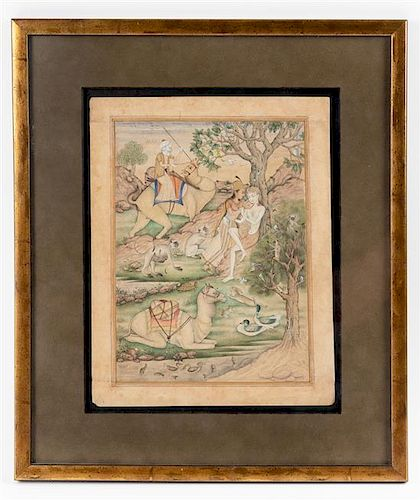 * An Indo-Persian Miniature Painting 9 x 6 5/8 inches.