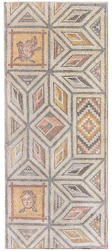 A Roman Marble Mosaic Floor Panel Height 75 1/2 x width 32 inches.
