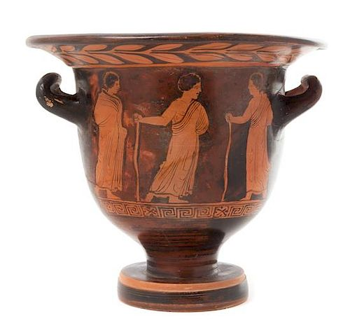 * A Lucanian Red Figured Bell Krater Height 9 1/2 x diameter 11 inches.
