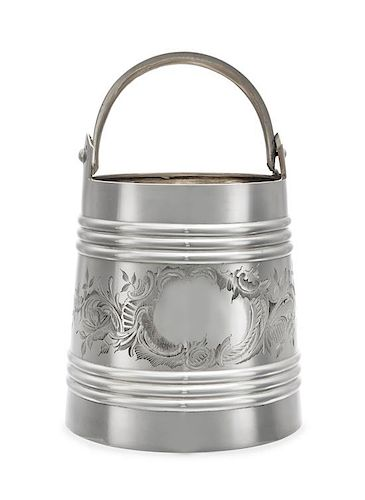 * A Russian Silver Wine Cooler, Mark Likely of Andrei Postnikov, Moscow, Late 19th Century, of pail form with a ribbed body, the