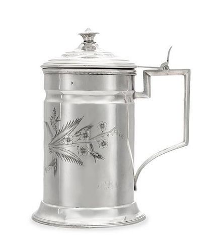 * A Russian Silver Tankard, Mark of Ilya Shchetinin, Assay of Ivan Lebedkin, Moscow, Late 19th/Early 20th Century, the cylindric