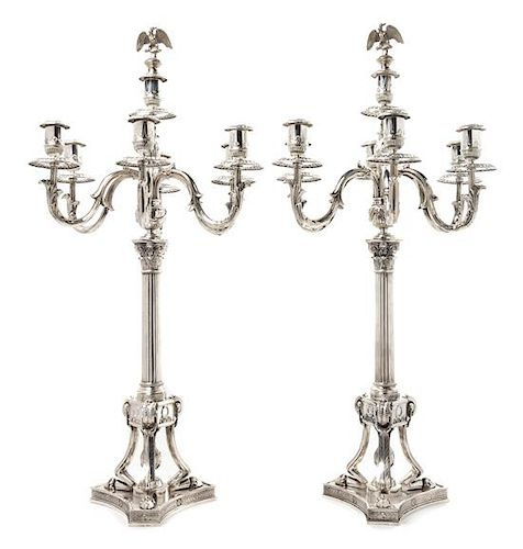* A Pair of German Silver Seven-Light Candelabra, Josef Krischer Nachfolger, Dusseldorf, Early 20th Century, the fluted columnar