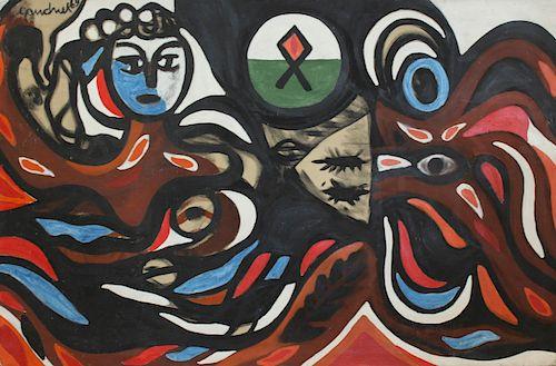 GANDNEK. Oil on Canvas Abstract.