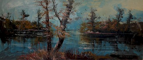 MORRIS KATZ. Large Oil on Canvas Lake Scene.