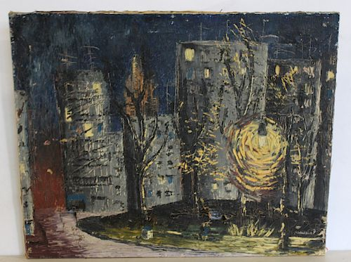 SIGNED ILLEGIBLY. Oil on Canvas City Night Scene.