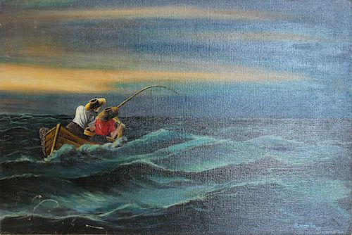ALMONT? Signed Oil on Canvas Fishing Scene.
