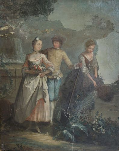 UNSIGNED. Oil on Canvas Rococo Scene with Figures.