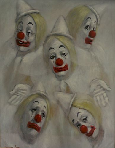LEIGHTON JONES. Gouache of Clowns.