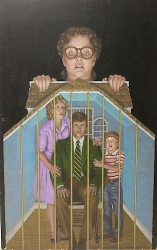 UNSIGNED. Oil On Board Family.