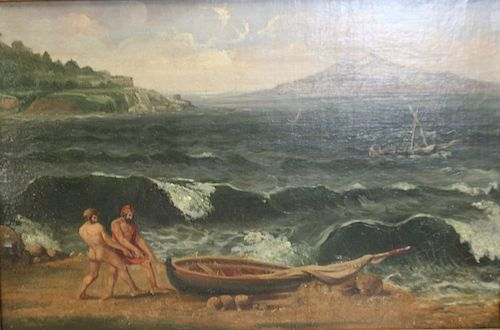 UNSIGNED Oil On Canvas Men Beaching Boat.