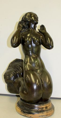 Signed Bronze Sculpture of a Mermaid.