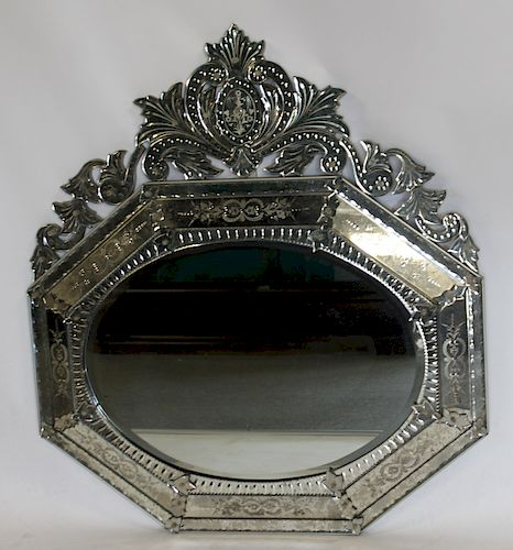Vintage And Fine Quality Venetian Mirror .