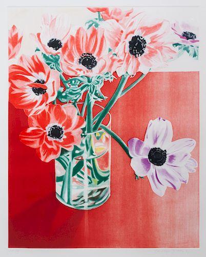* Carolyn Brady, (American, 1937-2005), Anemonies on Red Tables, 1981