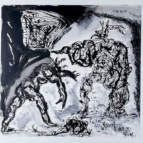 Felipe Posadas. La bestia, el hombre. Mixta sobre papel, óleo, crayón y tinta sobre papel. Firmada y fechada 29-II-1991. Enmarcada.