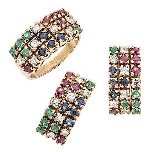 Juego de anillo y par de aretes con rubíes, esmeraldas, zafiros y diamantes en oro amarillo de 14 k Talla anillo: 6 ½.<...