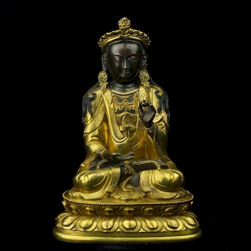 Chinese gilt bronze figure of Guanyin.