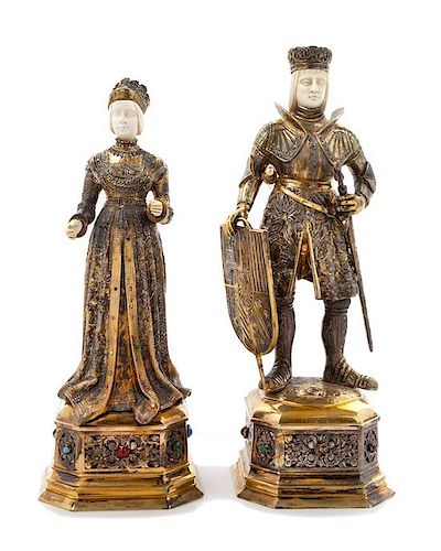A Pair of German Silver-Gilt and Hardstone Mounted Figures, Maker's Mark IFS, 20th Century, depicting a queen and king.