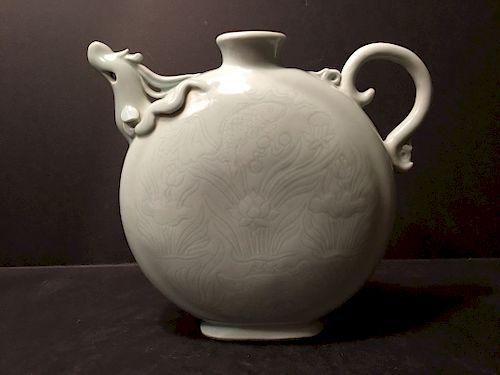 ANTIQUE Chinese Monochrome Light Grey Phoenix Form Moon Flask, Ming Mark