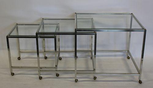 MIDCENTURY Chrome & Glass Nesting Tables