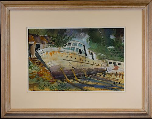 Lou McMurray, 20th C  Watercolor of a Boat by Helmuth Stone Gallery