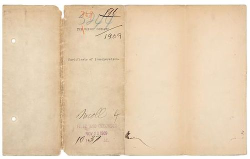 """[WRIGHT BROTHERS]. WRIGHT, Wilbur (1867-1912) -- WRIGHT, Orville (1871-1948). Typed document signed (""""Wilbur Wright"""", """"Orville W"""