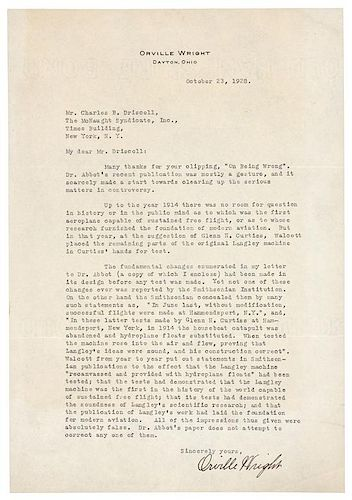 """WRIGHT, Orville. Typed letter signed (""""Orville Wright""""), to Charles B. Driscoll, McNaught News Syndicate. Dayton, OH, 23 October"""