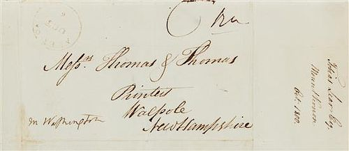 WASHINGTON, Martha Dandridge Custis. Autograph free frank signed (\