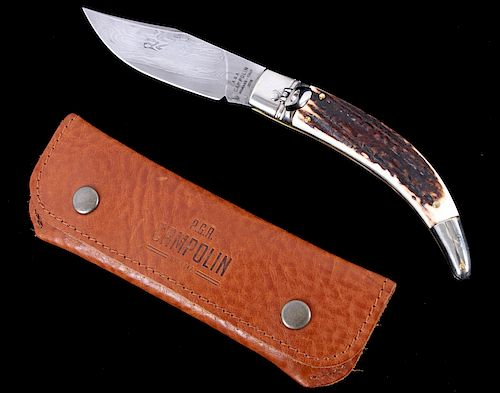 AGA Campolin Diana Damascus Stag Switchblade by North American