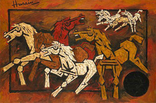 "M.F. Husain (Indian, 1913-2011) ""Horses"", 2000"