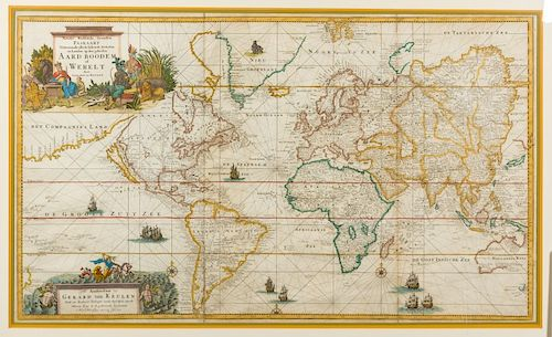 KEULEN, Gerard van (1678-1727). Nieuwe Wassende Graaden Paskaart Vertoonende alle de Bekende Zeekusten en Landen op den geheelen Aard Boodem of Werelt