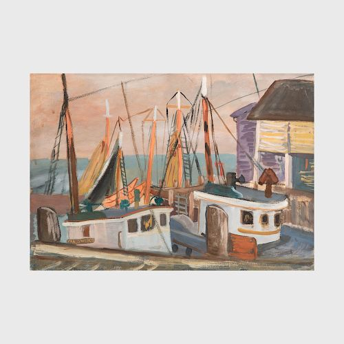 Attributed to Martha Levy: Mending the Nets; Dockside; and At the Dock