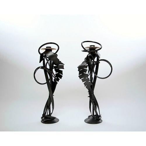 ALBERT PALEY Pair of candleholders