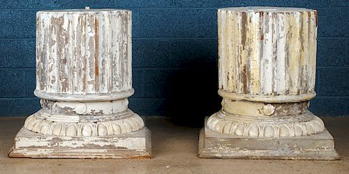 PAIR 19TH C. NEOCLASSICAL PAINTED WOOD COLUMNS