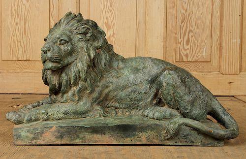 PETITE BRONZE RECUMBENT LION GARDEN STATUE