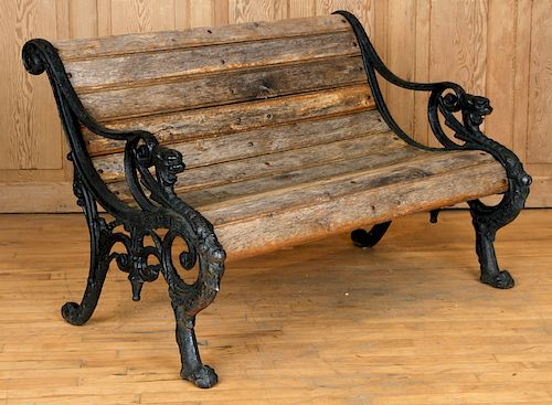 CAST IRON GARDEN BENCH WOOD SLAT GRIFFIN SUPPORTS