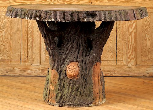 FRENCH STONE FAUX BOIS GARDEN TABLE TREE TRUNK