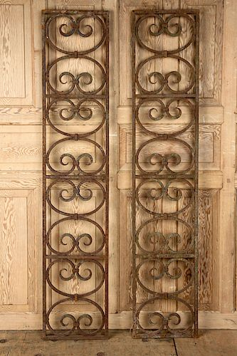 A PAIR OF WROUGHT IRON PANELS