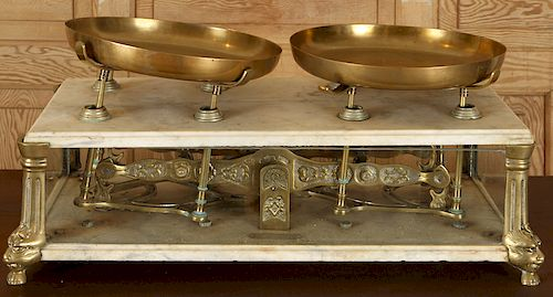 LABELED MARBLE BRASS MERCHANTS SCALE 1900