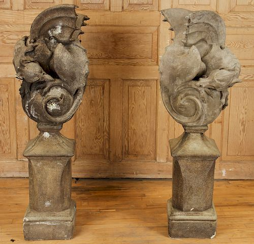 PAIR CAST STONE WINGED GARGOYLES SQUARE BASES