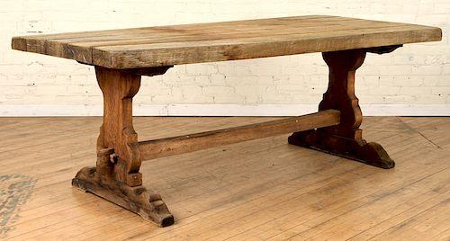 ANTIQUE OAK MONASTERY TRESTLE TABLE 1890