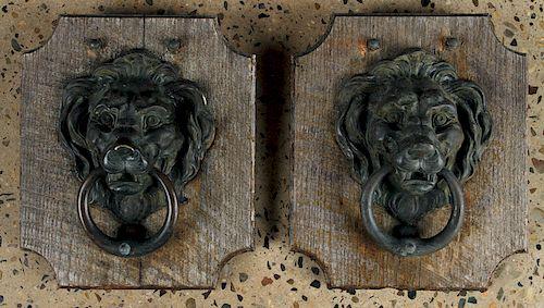 PAIR BRONZE LION FACED DOOR KNOCKERS MOUNTED