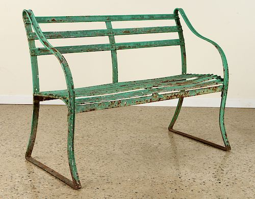 PAINTED GREEN IRON STRAP WORK BENCH
