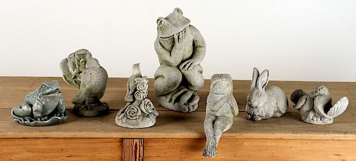COLLECTION 7 CAST STONE GARDEN ORNAMENTS ANIMALS