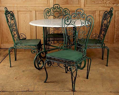 5 PC GARDEN SET 4 IRON CHAIRS MARBLE TOP TABLE