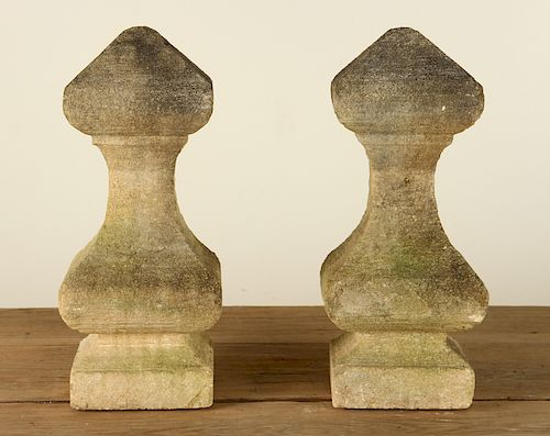 PAIR SHAPED CARVED STONE ARCHITECTURAL FINIALS