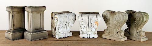 TWO PAIRS TERRACOTTA BENCH ENDS & PAIR CORBELS